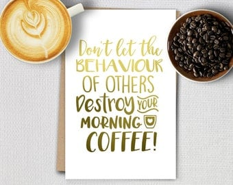 Foil cards - Coffee quotes - Morning Coffee