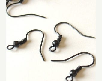 Summer Sale Black Gunmetal Ball and Coil Fish Hook Ear Wires - 50 Pieces - 0911