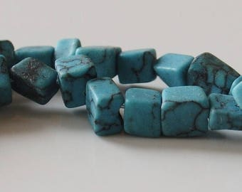 Summer Sale Semi-Precious Reconstructed Turquoise Chip Beads - 16 inch Strand - 0614chips