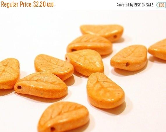 Summer Sale Semi-Precious matt  Orange  Stone Leaf - 9X14mm - 5 Pieces