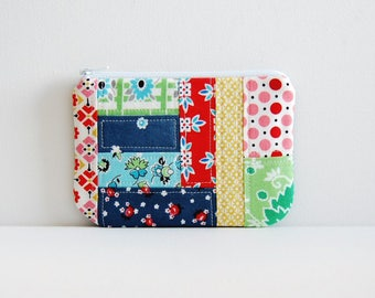 Zipper Pouch, Quilted Patchwork, Coin Purse, Women and Teens, Picnic & Fairgrounds, Denyse Schmidt