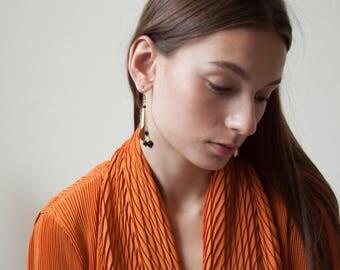 black ball drop dangle earrings / gold cone earrings / 1683a