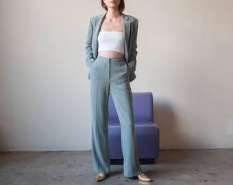 ANNE KLEIN light blue wool suit / sleek pant suit / US 4 / 2263o / R5