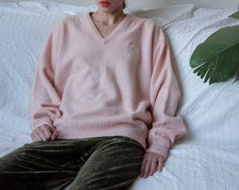 PRINGLE of scotland pink lambswool sweater / oversized v neck sweater / s / m / 3154t / B21