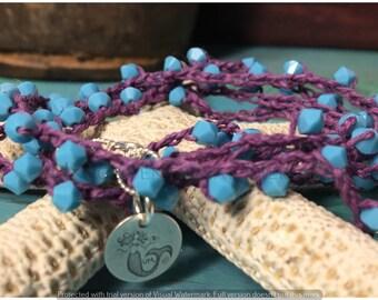 Long Necklace, Crochet Necklace, Crochet Bracelet, Swarovski Turquoise and Sterling Silver Crochet Bracelet/Necklace