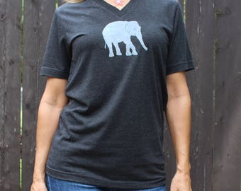 V Neck Elephant Tee Gray XS, S,M,L,XL