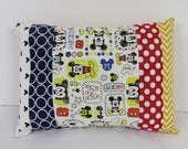 Patchwork Pillow Cover - Baby Toddler Nursery Decor Baby Crib Bedding - Travel - 12 in x 16 in - Mickey Mouse Fabric Dots Chevrons