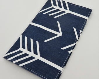 Checkbook Cover Case Cheque Book Receipts  - Large White Arrows on Navy Fabric