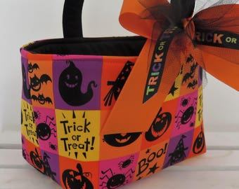 Halloween Trick or Treat Bag Basket Bucket - Yellow - Orange - Dark Pink - Purple Squares - Personalized Name Tag Available