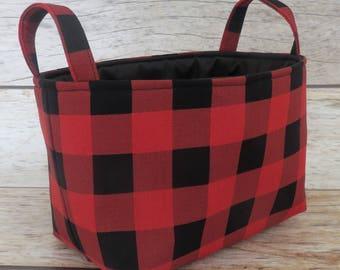 Storage Fabric Organizer Bin Container Basket - Black Red Buffalo Checks Plaid Gingham Fabric