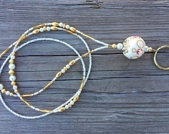Beaded ID badge lanyard -The Venetian- gold and pearl glass ID badge beaded lanyard necklace for office nurse teacher gift