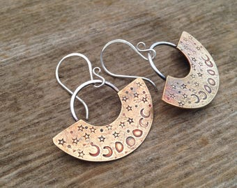 Bronze Phases of the Moon Tribal Dangle Earrings