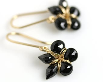 Black Spinel Flower Earrings. Black Spinel and Gold Fill Floral Earrings.