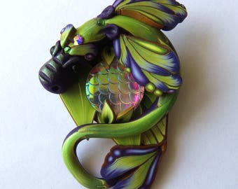Brooch Purple and Green Dragon , Polymer Clay Dragon Pin Jewelry