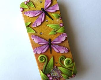 Pink Dragonflies Slide Top Tin, Sewing Needle Box Polymer Clay Covered Tin Magnetic Pin Case