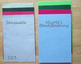 UUltrasuede/Sensuede Microfibor Fabric Set with Free Nicoles BeadBacking Pale Green dark Green Fuchsia light Blue