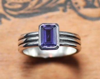 Iolite ring silver, purple ring, rectangular ring, emerald cut ring, multi band ring, modern silver ring geometric ring ribbed column custom