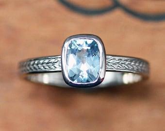 Aquamarine ring white gold, March birthstone ring, white gold engagement ring, wheat ring, braided ring, engagment rings, aquamarine size 7