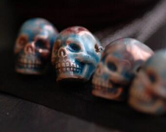 Skull Necklace Ceramic Skull Pendant Halloween Necklace Day of the Dead Raku Skull Bead Necklace Skeleton Necklace Creepy Skull Jewelry