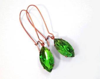Rhinestone Drop Earrings, Emerald Green Glass Navettes, Long Copper Dangle Earrings, FREE Shipping U.S.