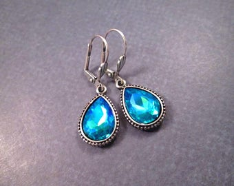 Rhinestone Drop Earrings, Aqua Blue Glass Stones, Silver Dangle Earrings, FREE Shipping U.S.