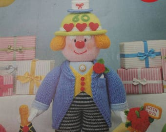 Knitting Patterns Clowns Jean Greenhowe's Celebration Clowns Red Nose Gang Part Two DK Weight Yarn Paper Original NOT a PDF
