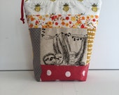 Patchwork Project Bag - Sock Knitting Bag - Sock Sack - Knitting Project Bag - Crochet Project Bag - Embroidery Bag - Needle Craft (Small)