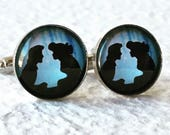 Ariel and Eric Cufflinks Cuff Link Set- kiss the girl Silhouette Great for Disney Themed Wedding - The Little Mermaid Jewelry