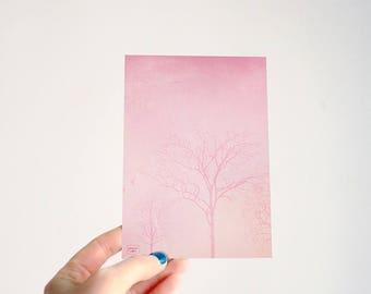 Pink trees - illustrated postcard