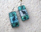 Green Silver Blue Earrings, Cat Earrings, Dichroic Jewelry, Dichroic Glass Earrings, Fused Glass Jewelry, Dangle Drop Earrings, 061417e100