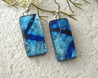 Blue Earrings, Dichroic Earrings, Glass Earrings, Glass Jewelry, Dichroic Glass Jewelry, Dangle Drop Earrings,Sterling Silver, 062417e100