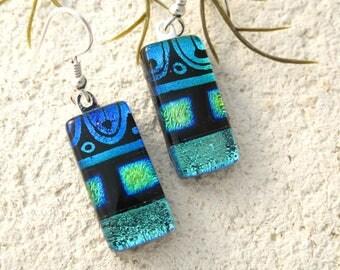 Green Blue Black Earrings, Dichroic Earrings, Dichroic Jewelry, Dangle Drop Earrings, Fused Glass Sterling Earrings, ccvalenzo, 080217e100