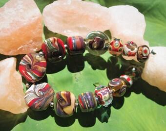 EKR_Lampwork Beads (14) Brown-Red-Khaki-Caramel-Green - SRA / Handmade Glass Beads / Beads for Jewelry Making / Beads for Jewelry