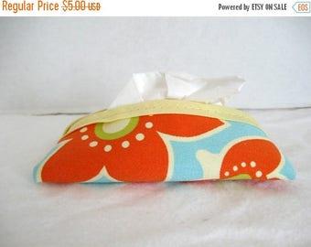 Flash Sale Floral Tissue Holder Pocket Tissue Case Orange Aqua Blue Flowers Cozy