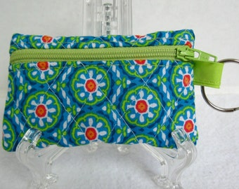 Quilted Coin Purse - Floral Change Purse - Small Zippered Pouch - Coin Purse Key Chain - Ear Bud Case - Turquoise Red Floral