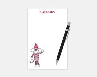 Sock Monkey Notepad - Personalized Sock Monkey Notepad - Personalized Notepad - Personalized Stationery for Kids - Sock Monkey Notepads