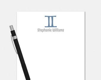 Personalized Gemini Notepad - Zodiac Symbol Notepad - Personalized Notepad for Her - 50 Color Choices - Gemini Stationery