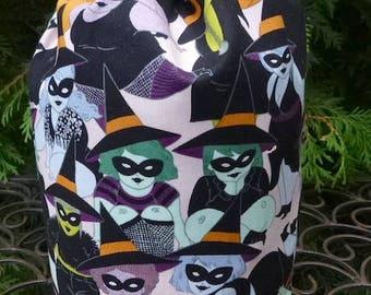 Witch Drawstring bag, WIP bag, knitting project bag, Belinda, Suebee