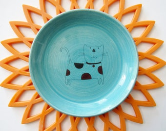 Turquoise Blue Polka Dot Cat Spoon Rest,  Ladle Rest, fun dotted kitten,  wheel thrown Pottery