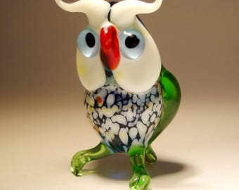 Blown Glass Figurine Art  Bird Green OWL with Blue EyEs