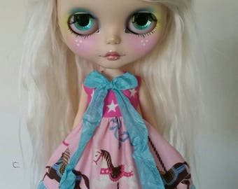 SALE Pink and Blue Carousel Horse dress for Blythe and Pullip