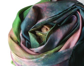 """Play Silk 35"""" : Water Lilies --(Artwork Silk of the Month) Inspired by Monet (Hand Dyed Natural Toy )"""