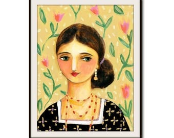 Virginia Woolf PRINT of painting author woman literature writer poster print by Tascha