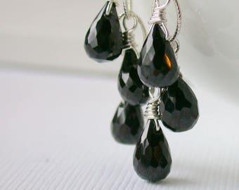 Black Onyx Cascade. Little Black Dress EArrings. Dangle Earring. Drop Earring.