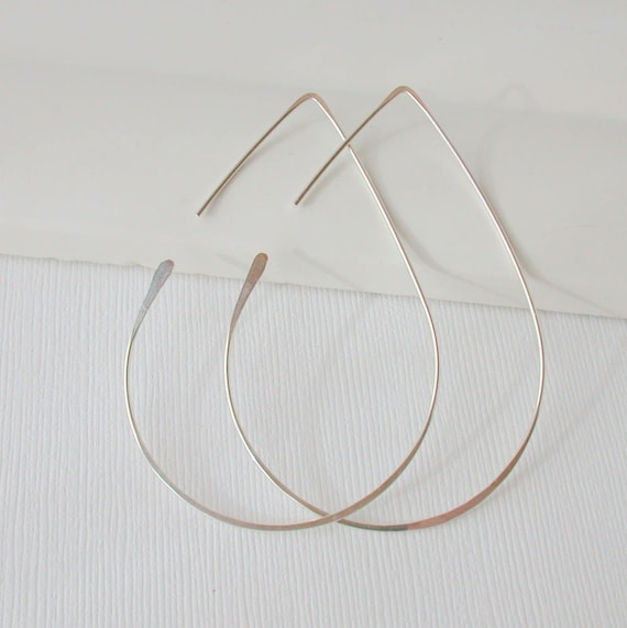 Large Teardrop Threader Hoops