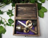 Wiccan Travel Altar Set in Wooden Box - Wand, Athame, Chalice, Pentagram, God & Goddess