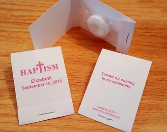 50 Personalized Baptism Mintbook Party Favors Mint Book Matchbook Style Pink