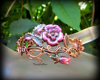 Copper Pink  Wild Roses and Vines Hand Painted  Wire Wrapped Bracelet