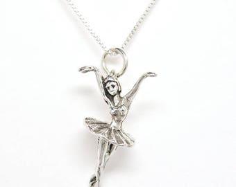 SALE Ballerina Sterling Silver Ballet Dancer Charm Pendant  Customize no. 1918