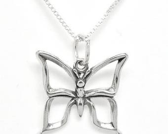 SALE Butterfly Sterling Silver Insect Pendant Charm 3D Customize no. 1891